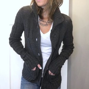 Chunky Cable Knit Cardigan Sweater- Dark Grey